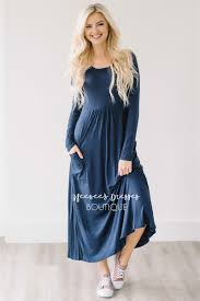 navy blue pockets casual modest dress best and affordable modest