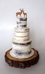 Semi Naked Cake With Wooden Deer Toppers