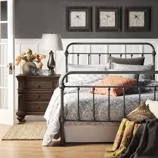 Details About Grey Gray Metal Bed Frame Bedroom Furniture Vintage Rustic Antique Queen Twin Fu