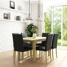 Black Leather Dining Chairs Set Of 6 With Chrome Legs Metal Buy ...