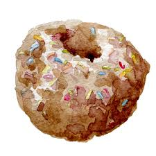 Download Watercolor chocolate donut stock illustration Illustration of dough
