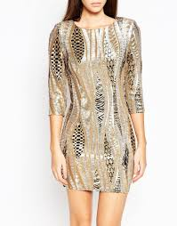 tfnc london all over sequin mini dress with 3 4 sleeve in metallic