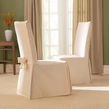 Cotton Duck Long Dining Room Chair Slipcover