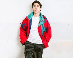 90s Mens Ski Jacket Vintage Men Parka Winter Zip Up Colorful