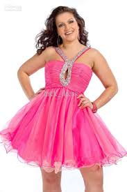 spaghetti beaded straps pink plus size mini homecoming