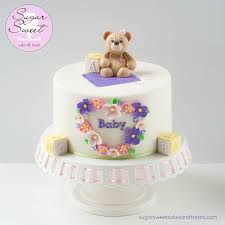 Teddy Bear Baby Shower Cake 8 inch cake decorated in Satin Ice