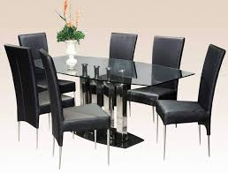 Luxurious Black Dining Room Sets With Cushioned Chairs And Glass Table For Modern Ideas