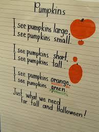 Poems About Halloween For Kindergarten by Shared Reading Poem Pumpkins Redo Ending I See Pumpkins Orange