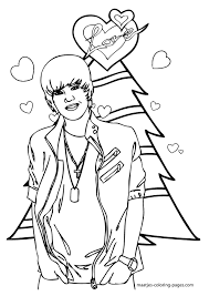 Justin Bieber Christmas Coloring Page