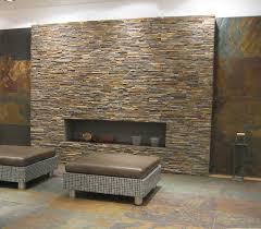 wand aus naturstein bricks rot braun wohnzimmer ideen