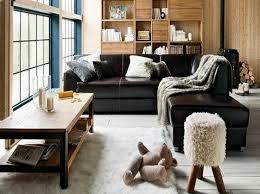 furniture appealing black leather sofa in living room home