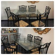 Authentic Wrought Iron Base N Glass Top Dining Table ...