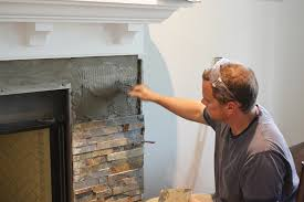 building our fireplace installing the slate split tile our