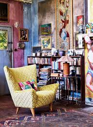 Natty Bookcase Beside Decorative Yellow Armchair Paired With Rustic Bohemian Reading Nook Interior Style Design