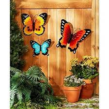 Amazon Wall Art Indoor Outdoor Metal Decor Butterfly Set Of 3 Garden