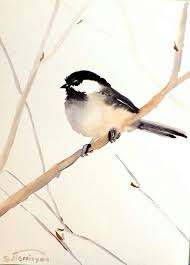 Chickadee Original Watercolor Painting 12 X 9 Bird Lover Nursery Art