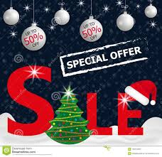 Dark Blue Background Red Christmas Sale Banner With Hanging White Balls Tree In The