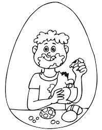 Easter Coloring Page Boy Eating Chocolate Bunny