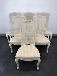 SOLD OUT - French Country Caned Dining Chairs By White Of Mebane - Set Of 6 Refinished Painted Vintage 1960s Thomasville Ding Table Antique Set Of 6 Chairs French Country Kitchen Oak Of Six C Home Styles Countryside Rubbed White Chair The Awesome And Also Interesting Antique French Provincial Fniture Attractive For Eight Cane Back Ding Set Joeabrahamco Breathtaking