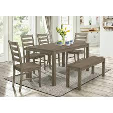 Walker Edison Furniture Company Homestead 6 Piece Aged Grey Wood Dining Set