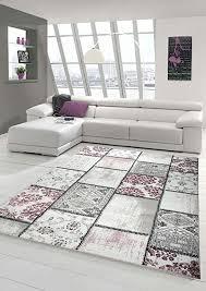 edler designer teppich moderner teppich wohnzimmer teppich patchwork vintage meliert karo muster in lila creme grau rosa schwarz größe 80 x 300 cm