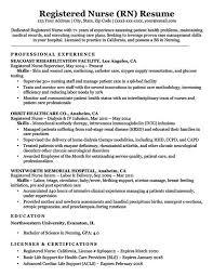 Registered Nurse Sample Resume Emergency Room