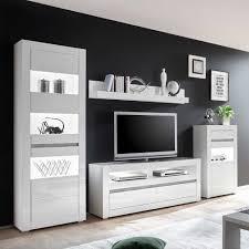 wohnzimmer schrankwand in weiß hochglanz beton grau 4