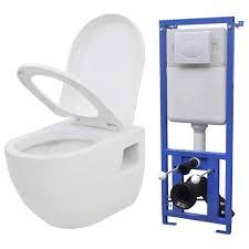 dereoir hänge toilette mit einbau spülkasten keramik weiß