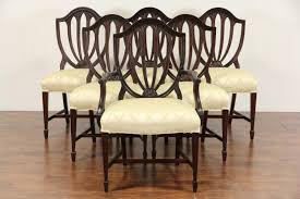 Set Of 6 Vintage Hepplewhite Mahogany Shield Back Dining Chairs, New  Upholstery 4 Hepplewhite Style Mahogany Yellow Floral Upholstered Ding Chairs Style Ding Table And Chairs Pair George Iii Mahogany Armchairs Antique Set Of 8 English Georgian 12 19th Century Elegant Mellow Edwardian Design Antiques World 79 Off Wood Hogan Side Chair Eight Late 18th Of
