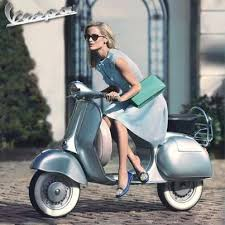 Vespa And Rider Biker Girl Women Riding Motorcycles Girls On Bikes Babes Lady Riders Who Ride Rock