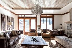 3 Tags Rustic Living Room With Crown Molding Hardwood Floors High Ceiling Dura Groove Knotty