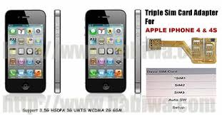 Triple Sim Adapter of Apple Iphone 4 4S 3 Simcard Holder for
