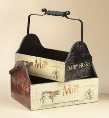 Set Of Vintage Style Wooden Cow Baskets Country Decor