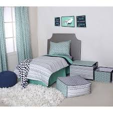 Bacati Noah Tribal Mint Navy 4 Piece Toddler Bedding Set 100