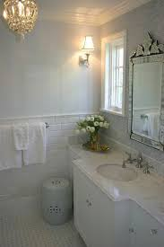 image small shower with subway tile and basketweave floor tile