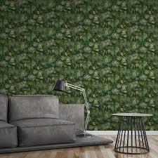 tapete grüner blätterwald realistisch farbakzente grün