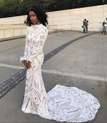 White Lace Long Sleeve Crew Neck Prom Dress