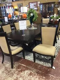 Copley Square Trestle Coffee Bean Table & 8 Chairs 2 Leaves