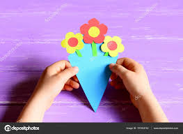 Kids DIY Simple Childrens Crafts Paper Flowers Card Photo By OnlyZoia