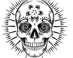 Sugar Skull Coloring Pages 21 Printable PDF Blank Sugar