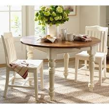 Pottery Barn Keaton Round Fixed Dining Table French White Polyvore