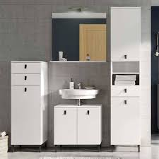 weiße badezimmer möbel spiegel set sudessa i 4 teilig
