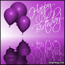 Happy Birthday Purple Balloons Ripples Glitter Graphic Greeting ment Meme or GIF