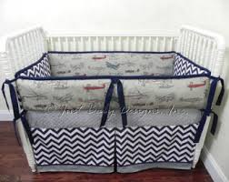 Custom Crib Bedding Set Luke Boy Baby Bedding Navy and