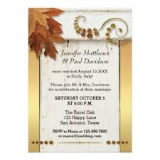 Elegant Fall Post Or After Wedding Invitation With Colorful Leaves On A Rustic White Wood Panel