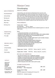 Housekeeper Sample Resume Housekeeping Hospital Manager Samples