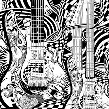 Adult Coloring Page Printable Guitar By JuleezGallery