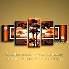 Multi Canvas Art Beautiful Huge Multiple Wall Contemporary Landscape Sunset Tree On Brown