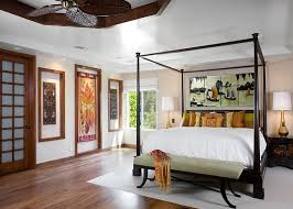 Amazing Asian Bedroom Ideas For Designing Elegant Interior Design Bright Furnished With Black Queen Four Poster Bed Wit