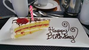 Hilton Pool Terrace Restaurant A slice of birthday cake which made my darling wife all